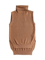 【Graphpaper women's】HIGH DENSITY TURTLE NECK VEST (CAMEL)