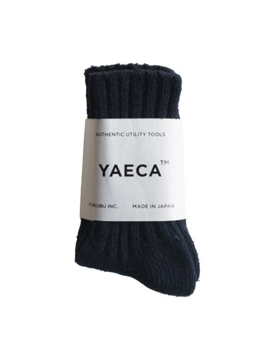 【YAECA unisex】COTTON SILK SOCKS (NAVY)_main