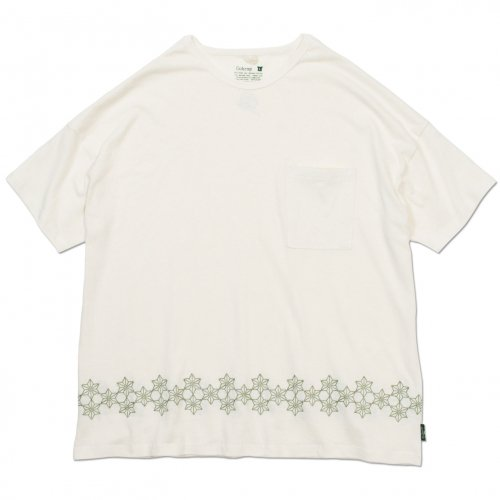 GOHEMP ( ゴーヘンプ ) 麻柄刺繍ワイドポケットTシャツ LADY'S WIDE PK TEE / ASAGARA EMBROIDERY ( NATURAL ) GHC4290AGE