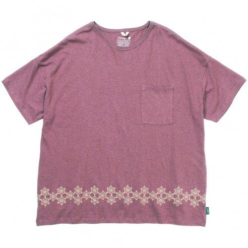 GOHEMP ( ゴーヘンプ ) 麻柄刺繍ワイドポケットTシャツ LADY'S WIDE PK TEE / ASAGARA EMBROIDERY ( ACAI PALM ) GHC4290AGE