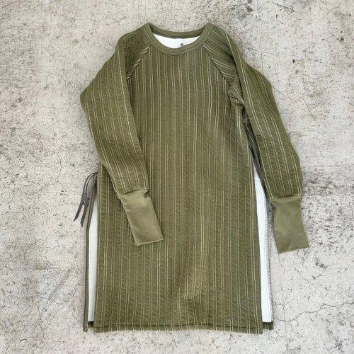 MOUN TEN. ( マウンテン ) ワンピース STRIPE QUILT SIDE ZIP DRESS 大人サイズ( KHAKI ) MT202026