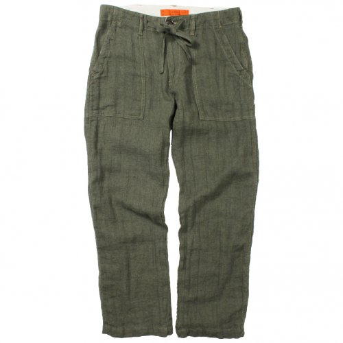 GOWEST ( ゴーウエスト ) パンツ MEN'S EASY WIDE BAKER PANTS / LINEN HERRINGBONE ( OLIVE ) GWP1124LHT