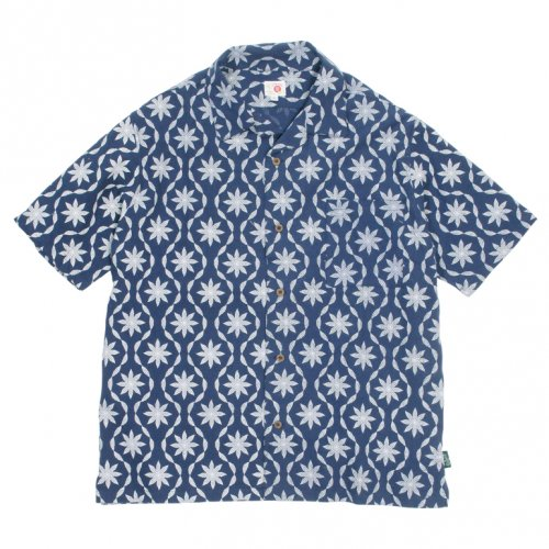 GOHEMP ( ゴーヘンプ ) 半袖シャツ MEN'S LEAF WAVE SHIRTS ( NAVY ) GHS5905LFW