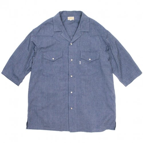 GOWEST ( ゴーウエスト ) 半袖シャツ MEN'S WIDE WESTERN OPEN SHIRTS ( BLUE INDIGO ) GWS3081IHC