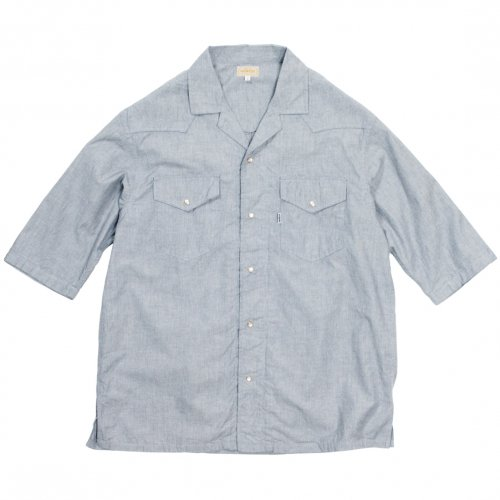 GOWEST ( ゴーウエスト ) 半袖シャツ MEN'S WIDE WESTERN OPEN SHIRTS ( GREY INDIGO ) GWS3081IHC