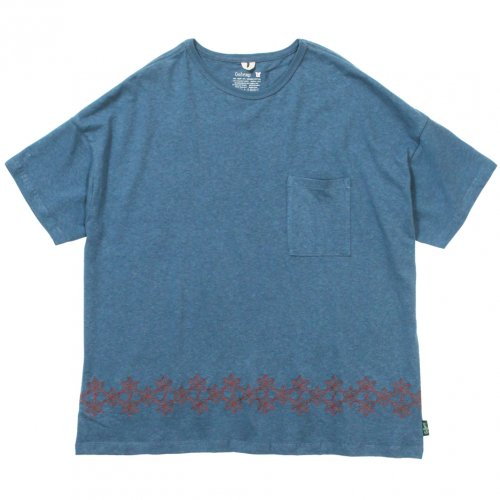 GOHEMP ( ゴーヘンプ ) 麻柄刺繍ワイドポケットTシャツ MEN'S WIDE PK TEE / ASAGARA EMBROIDERY ( NIAGARA BLUE ) GHC4290AGE