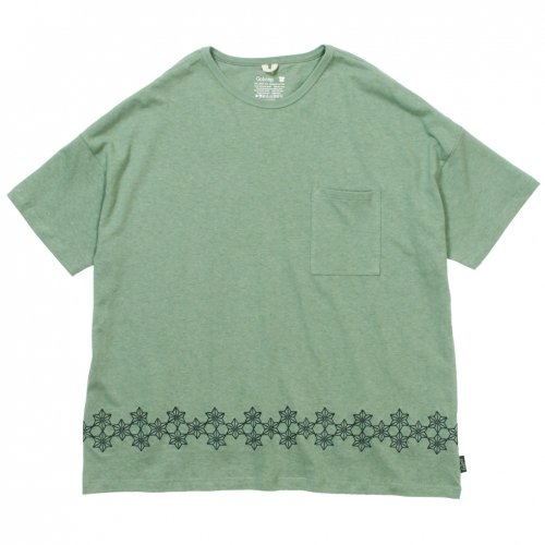 GOHEMP ( ゴーヘンプ ) 麻柄刺繍ワイドポケットTシャツ MEN'S WIDE PK TEE / ASAGARA EMBROIDERY ( KALE GREEN ) GHC4290AGE
