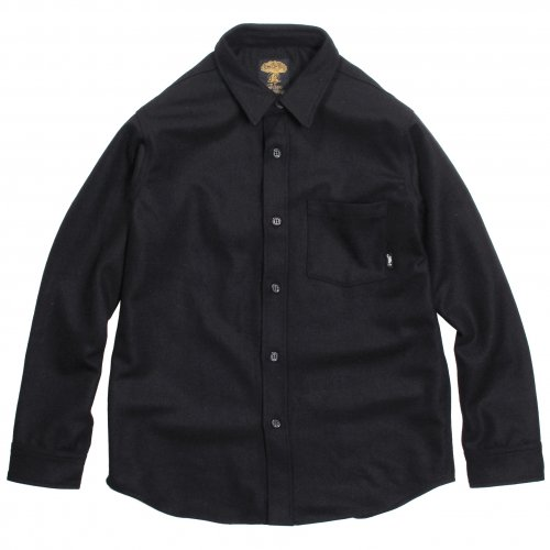 GREENCLOTHING ( グリーンクロージング ) × JAU ( ジャウー ) WOOL FLANNEL SHIRTS LIMITED EDITION ( BLACK×GREEN刺繍 )