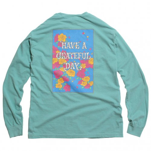 GOWEST ( ゴーウエスト ) ロンTEE GRATEFUL DAY L/SL T-SHIRTS ROSE ( TURQUOISE ) GWC1006HGD