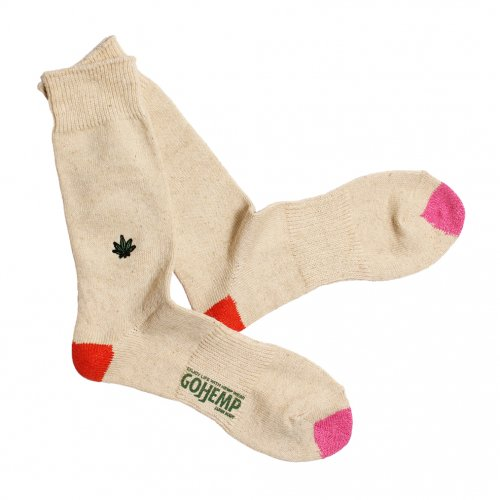 GOHEMP ( ゴーヘンプ ) × ANONYMOUSISM ソックス EMBROIDERY CREW SOCKS ( RED ) GHG0041GLL