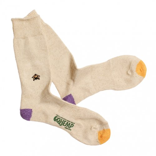 GOHEMP ( ゴーヘンプ ) × ANONYMOUSISM ソックス EMBROIDERY CREW SOCKS ( PURPLE ) GHG0041GLL