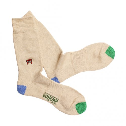 GOHEMP ( ゴーヘンプ ) × ANONYMOUSISM ソックス EMBROIDERY CREW SOCKS ( BLUE ) GHG0041GLL