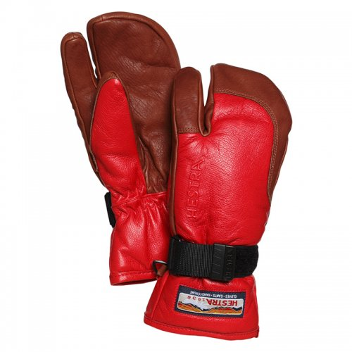 HESTRA (ヘストラ) 17-18 3-FINGER FULL LEATHER (RED/BROWN)