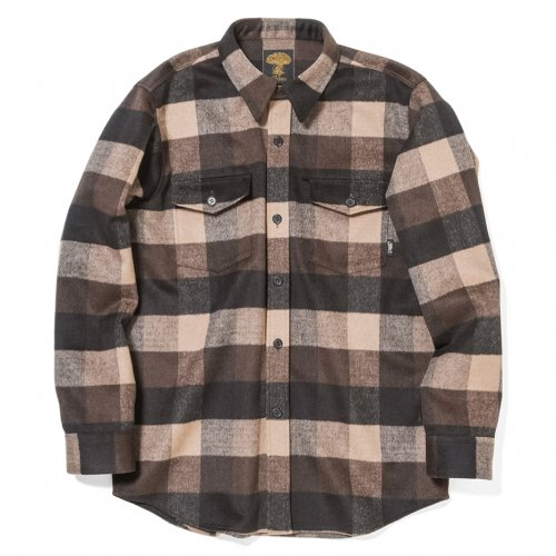 GREENCLOTHING ( グリーンクロージング ) 19-20 WOOL FLANNEL SHIRTS ( BROWN BLOCK )