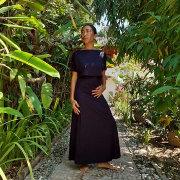 Mana 2 way Long Skirt  black
