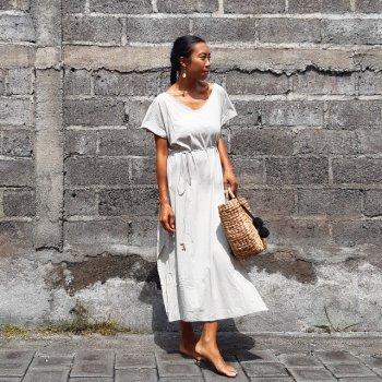 V neck Long Dress Cotton with Mask (soil)