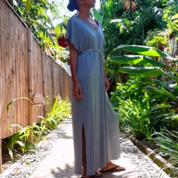 V neck Long Dress Rayon with Mask(misty)