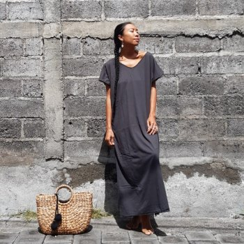 V neck Long Dress Cotton with Mask (charcoal)