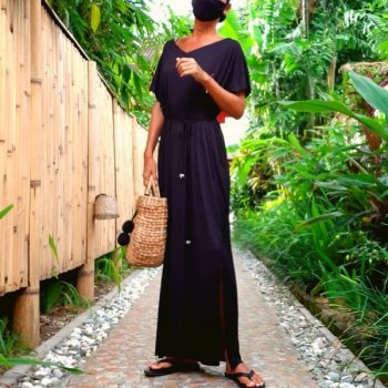 V neck Long Dress Rayon with Mask(black)