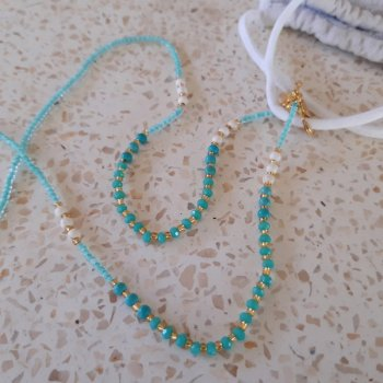 <img class='new_mark_img1' src='https://img.shop-pro.jp/img/new/icons3.gif' style='border:none;display:inline;margin:0px;padding:0px;width:auto;' />Beads Mask Strap blue x turquoise