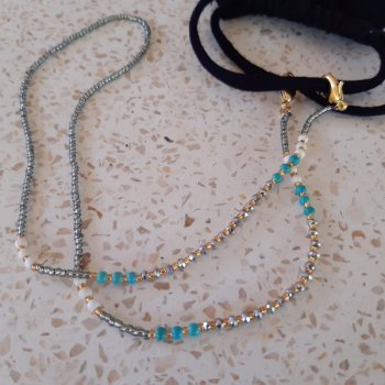<img class='new_mark_img1' src='https://img.shop-pro.jp/img/new/icons3.gif' style='border:none;display:inline;margin:0px;padding:0px;width:auto;' />Beads Mask Strap silver x turquoise