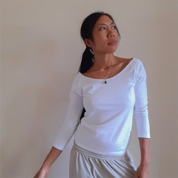 OM Tops 7分袖 white