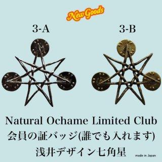 3 NOLCピンバッジ(浅井が鉛筆で描いた七角星を、おしゃれCATなどを削ってくれた古い付き合いの原型師の方が高精度に具現化してくれました。なので心が入ってます)