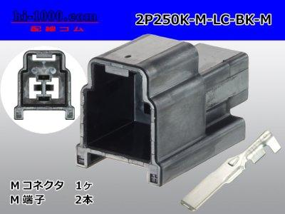矢崎総業250型91シリーズM-LCタイプ2極Mコネクタ黒色/2P250K-M-LC-BK-M