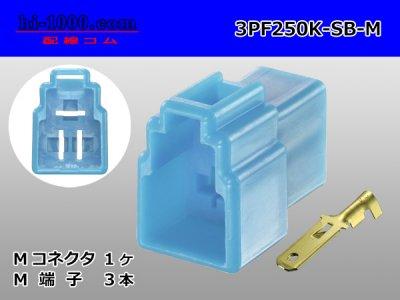 矢崎総業250型3極CN(A)シリーズ[空色]Mコネクタ(端子付)/3PF250K-SB-M