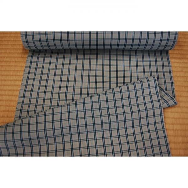 うーるきもの 織りうーる ブルーの格子柄