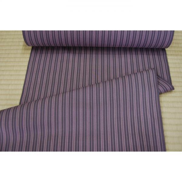 うーるきもの 織りうーる 薄紫の縞柄