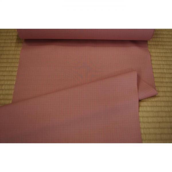 うーるきもの 織りうーる ピンクの格子柄