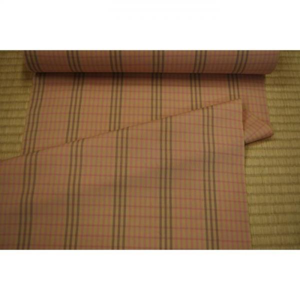 うーるきもの 織りうーる ピンクとグレー格子柄