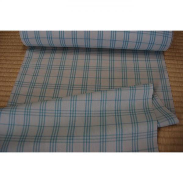 うーるきもの 織りうーる 水色の格子柄
