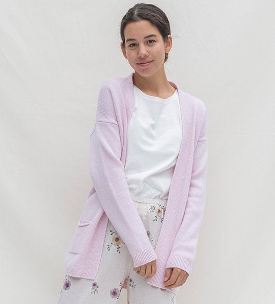 イタリアニットガウン刺繍 ライトピンク