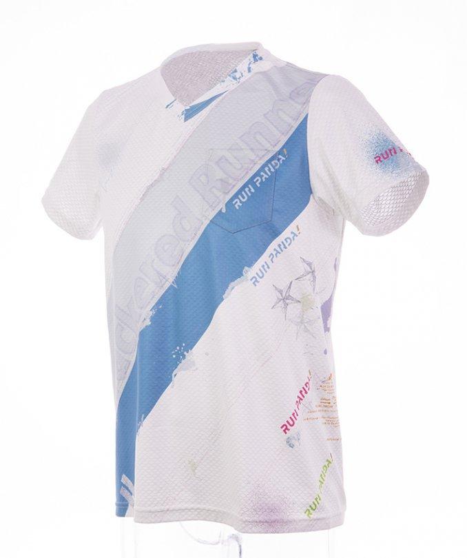 RUN PANDA! Men's EKIDEN CARBON Tシャツ(ホワイト/ブルー)