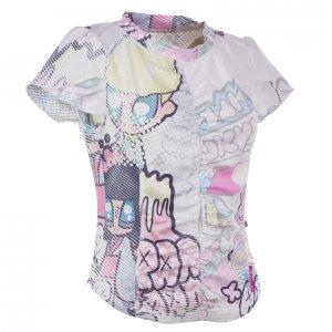 Drop Pandani レディースフロントギャザーTシャツ (ホワイト)
