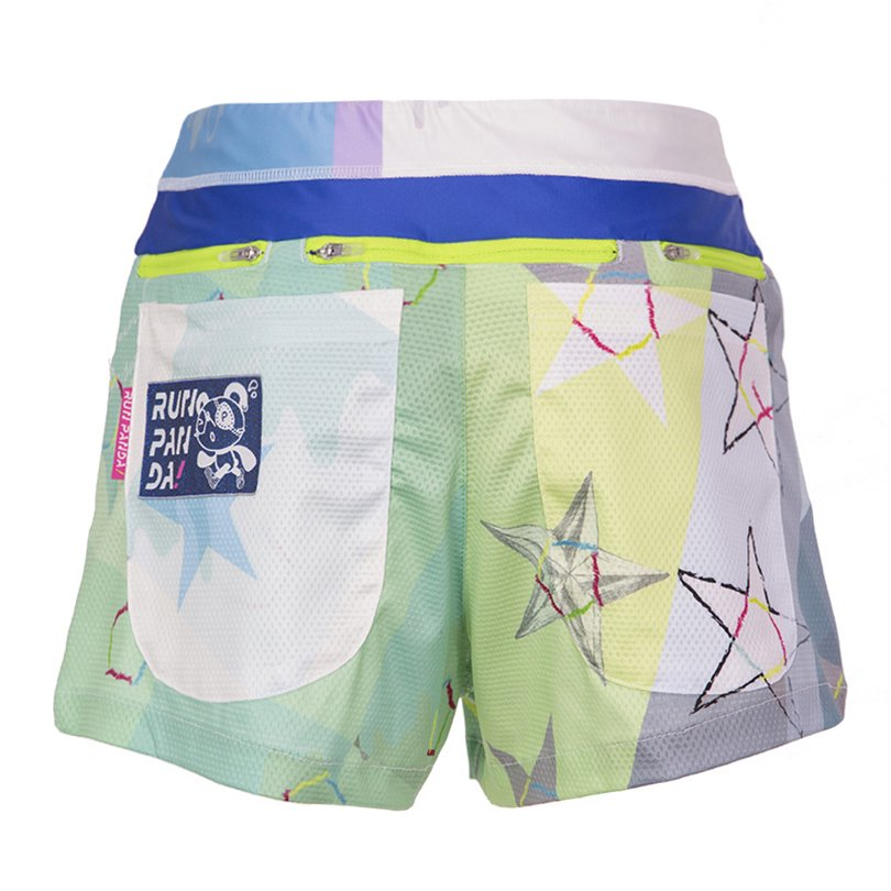 Star Yellow Green 7 Pockets レディースジョギングパンツ