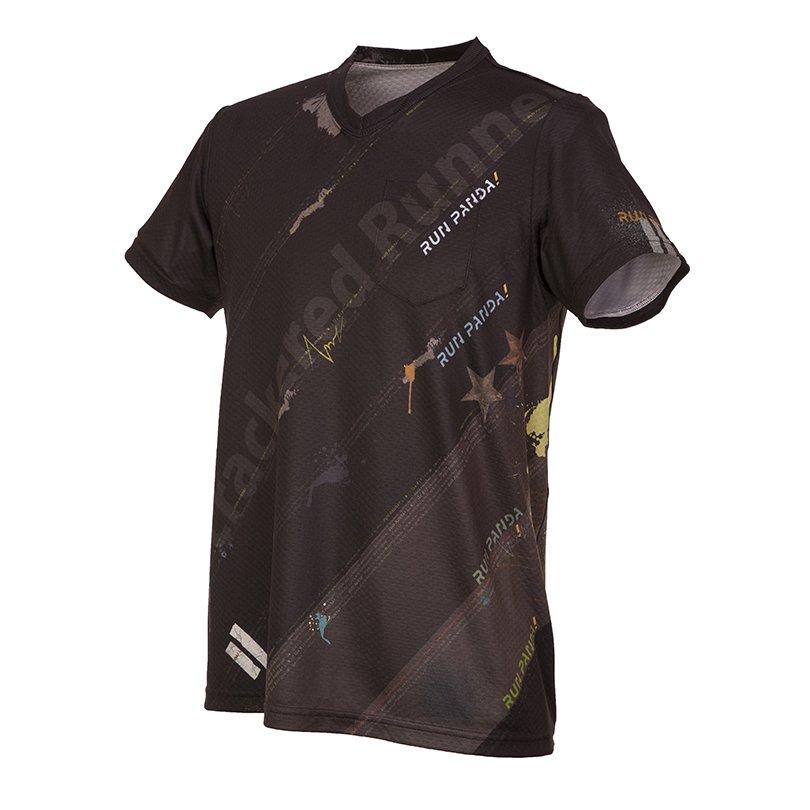 RUN PANDA! Men's EKIDEN CARBON Tシャツ(ブラック)