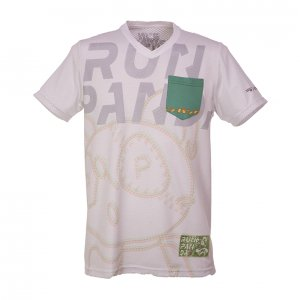 RUN PANDA! Men's TRACK CARBON Tシャツ(ホワイト)