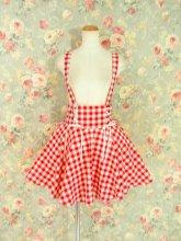 フリルスカート:ブロックチェックの編み上げサスペンダースカート 赤