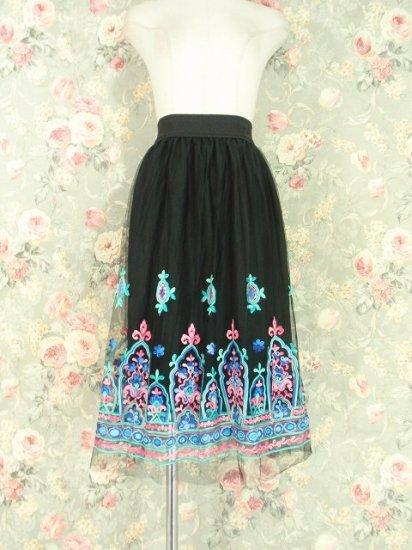 フリルスカート:闇夜のチュールと刺繍ステンドグラスのフリルスカート スリット入り