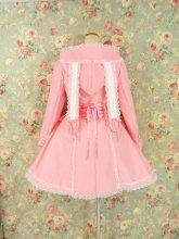 【正規品】フリルコート:ピンクとリボンと編み上げのうさみみフード付きフリルコート