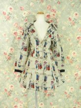 フリルワンピースコート ロップイヤー襟のエリーナ姫バッスルフリルコート ショート丈リボン付きver