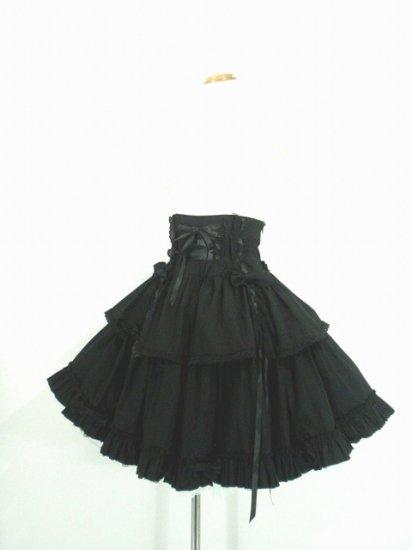 フリルスカート クラシカルハイウエストコルセットスカート 黒