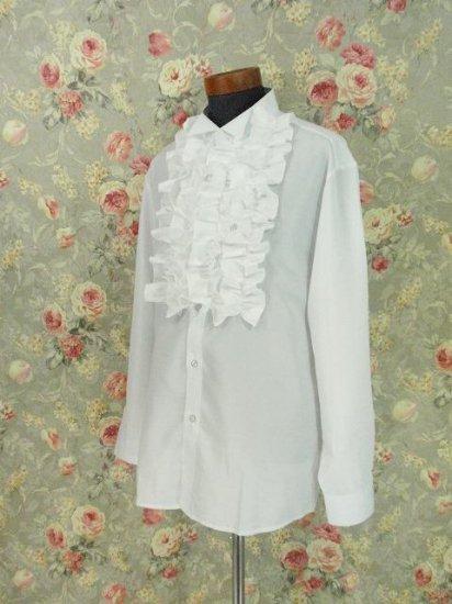 フリルメンズシャツ:ウイングカラードレスシャツ Lサイズ