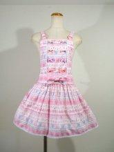 フリルワンピース:リボン編み上げサロペットスカート