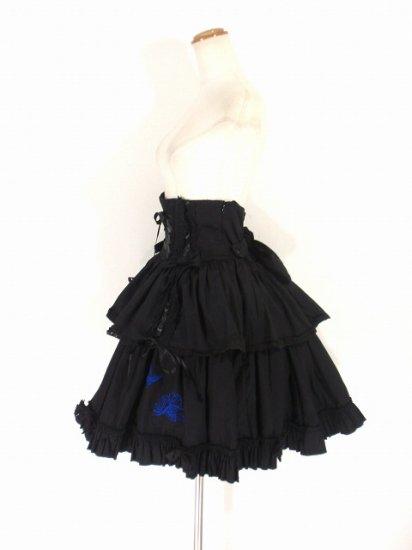 フリルスカート:魅惑の青薔薇と蝶々のコルセットスカート
