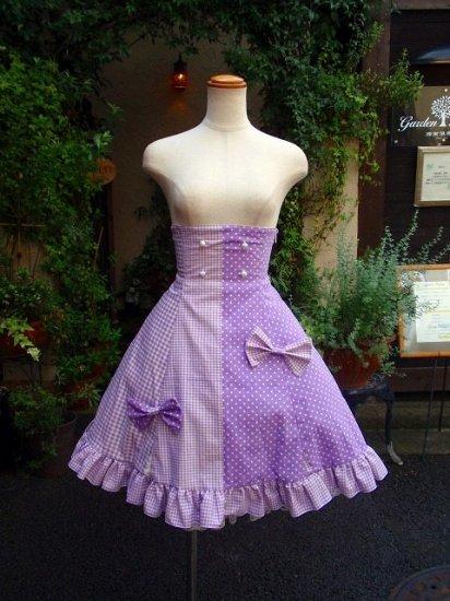 フリルスカート ゆめかわいいラベンダーのツインリボンコルセットスカート