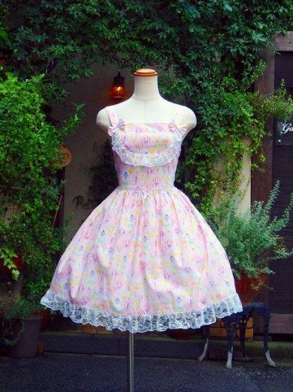 ききゅう柄の編み上げフリルワンピース(ピンク)